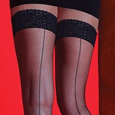 Scarlet Fishnet Backseam hold-ups