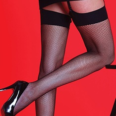 Scarlet fishnet stockings with plain band