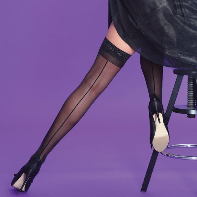 Silky Scarlet Seamer backseam lace top hold-ups