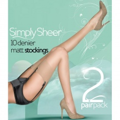 Pretty Polly Simply Sheer 10 denier stockings - 2 pair pack