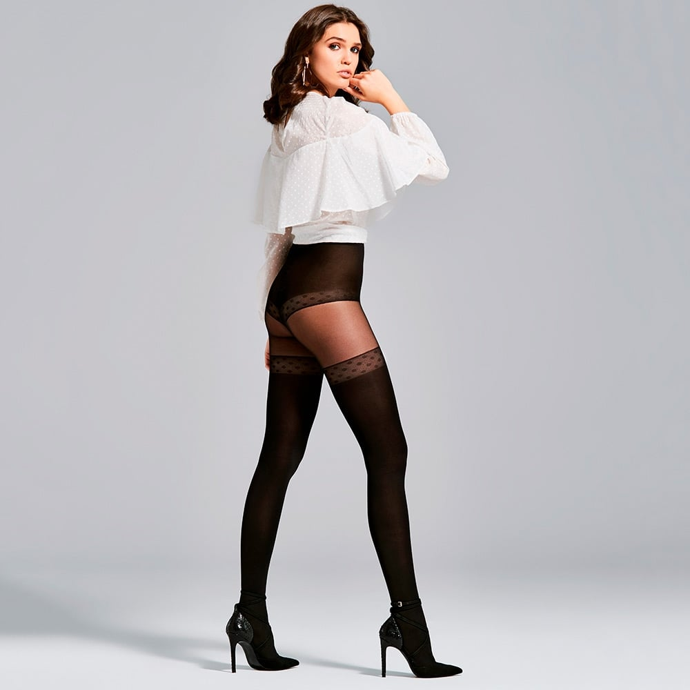 a6315ee8a Fiore Soleil opaque microfibre faux hold-up tights at Stockings HQ ...