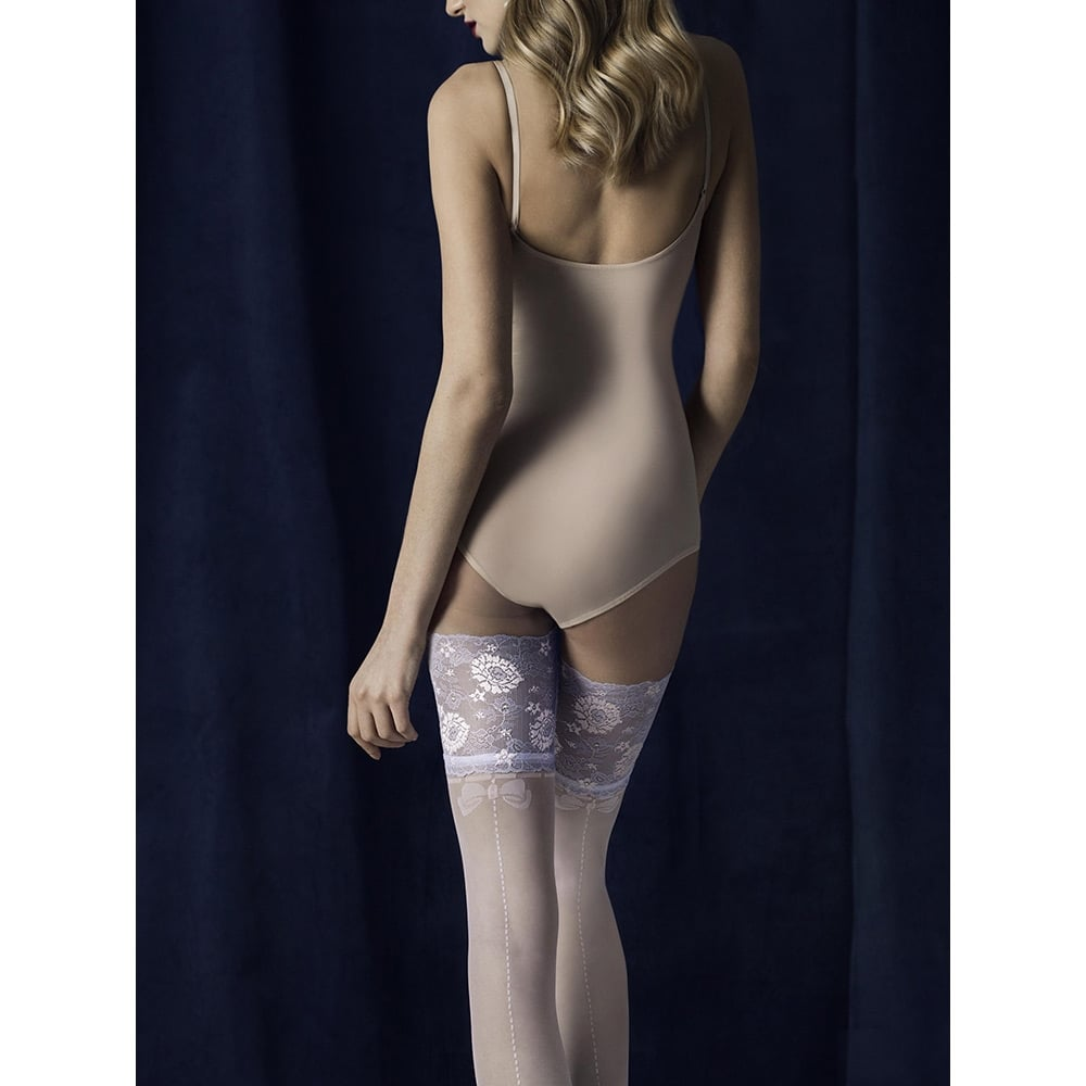 Fiore Spell light blue lace top hold-ups