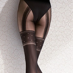 Temida opaque faux suspender tights