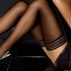 tulle micronet hold-ups with stripe top