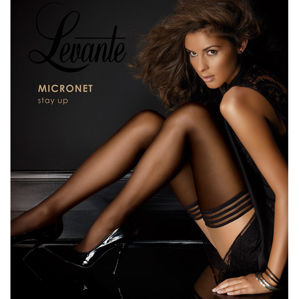 Levante tulle micronet hold-ups with stripe top
