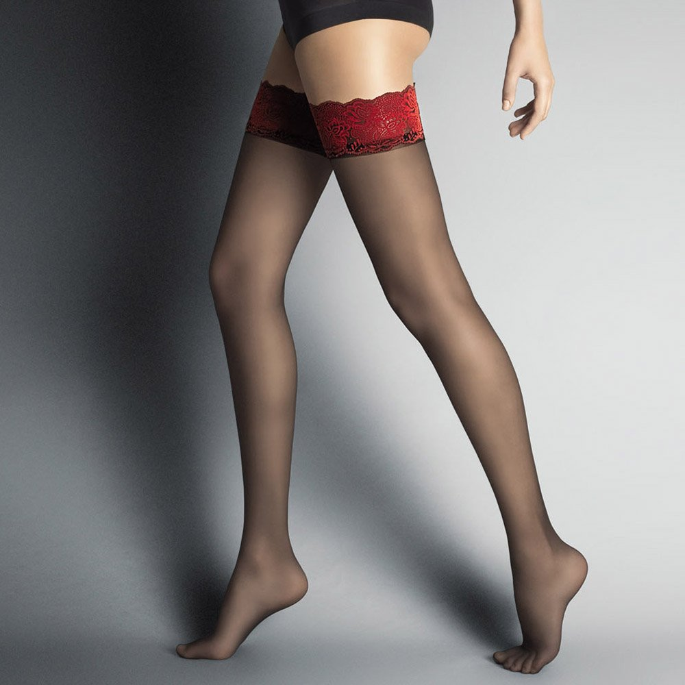 Veneziana Alessandra sheer hold-ups with rose pattern band - SAVE 36%!